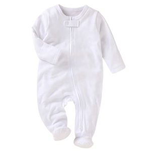 WHITE | Baby toddler organic footie jumpsuit